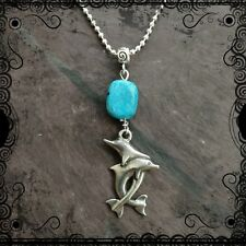 Pewter dolphin pendant necklace, turquoise bead on ball chain, unisex, surfer