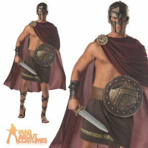 Spartan Warrior Costume Mens Roman Greek Adults Gladiator Fancy Dress Outfit