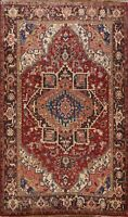 Excellent Vintage Traditional Heriz Area Rug Geometric Oriental Hand-knotted 7x9