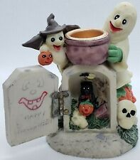 Halloween Happy Ghost Grave Skull Black Cat Candle Holder
