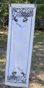 "VTG Hand Embroidered dishtowel Donkey Pulling Cart  STAINED  13x42"""