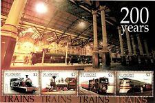 St. Vincent 2004 - SC# 3213 Steam Trains, Railroad - Sheet of 4 Stamps - MNH