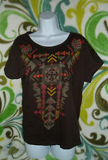 Brown Earthy Boho Top Boat Neck Short Sleeve Small