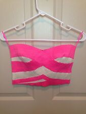 Jealous Tomato Crop Top: Neon Pink/White