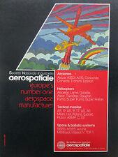 7/1980 PUB AEROSPATIALE AEROSPACE AIRPLANE HELICOPTER MISSILE SPACE ORIGINAL AD