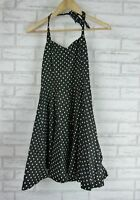 LINDY BOP Halter Dress Sz 8 Black White polka dot
