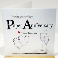 Paper 1st Wedding Anniversary Card - 6 x 6 Inches