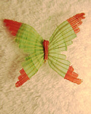 Horsehair Crin ~ Unique, Dainty, Handwoven Green & Orange Butterfly Pin ~ Chile