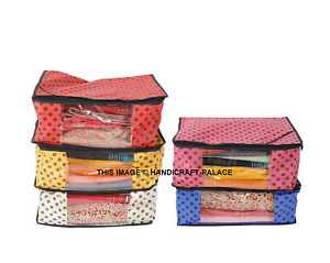 Oneside Clear Plastic Clothes Sari Saree Garment Storage box cover Bags (5 PC)