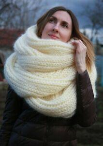 Premium Mohair MEGA LONG SCARF 3 m. Hand knit Ivory  Men Women Jane Rodas