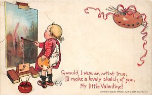 H66/ Valentine's Day Love Holiday Postcard c1910 Artist Painting Curtis 1