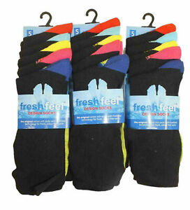 BOYS 10 PAIR FUNKY HEEL TOE DESIGN SOCKS IDEA SCHOOL WEAR COTTON RICH SIZES