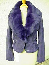 Damenlederjacke mit Fuchspelzkragen Lederjacke mit Blaufuchs Pelz Vintage SO16
