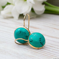14K Solid Yellow Gold 12mm Turquoise Drop Earrings Handmade Holiday Sale