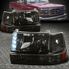 [LED DRL] FOR 1992-1996 FORD F150/F250/F350 SMOKED AMBER BUMPER HEADLIGHTS/LAMP
