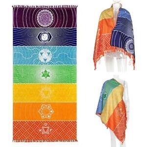 Bohemian Rainbow Beach Mat Mandala Blanket Wall Hanging Yoga Tapestry Towel Z7A8