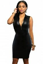 BLACK DRESS ZIP PLUNGING MINI BODYCON WET PVC LEATHER LOOK CLUBWEAR SIZE 10 12