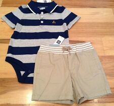 Baby Gap Boys 0-3 Months Outfit. Striped Shirt & Tan Brown Shorts. Nwt