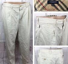 Burberry London Pants Casual Chino Light Khaki Nova Check Trim Cotton Men Sz 50