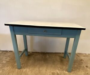 An Antique Enamel Topped  Blue Painted Pine Pastry Table With Drawer
