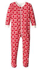 Hatley Little Girls' Footed Fleece Coverall - Classic Snowflakes, Red, 4