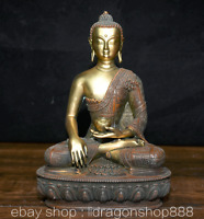 "15.2""Tibet Bouddhisme Rouge Cuivre Doré  Sakyamuni Tathagata Bouddha Robe Statue"