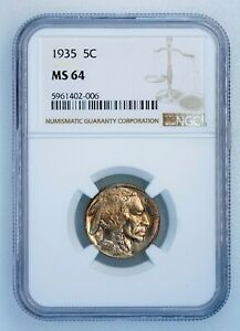 1935 5c Buffalo Nickel Five Cents Certified NGC MS64 U.S. Mint Coin Slight Tone