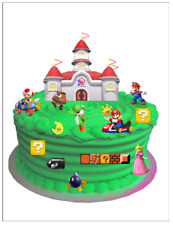 SUPER MARIO EDIBLE BIRTHDAY WAFER CARD CAKE SCENE DECORATION (uncut)