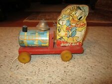 Vintage Walt Disney Donald Duck Pull Toy Choo Choo By Fisher Price!!!