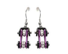 Woman's Biker Stainless Steel Bike Chain Earrings Black Purple USA Seller!
