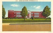STATESVILLE, NC  North Carolina     JUNIOR HIGH SCHOOL    c1940's Linen Postcard