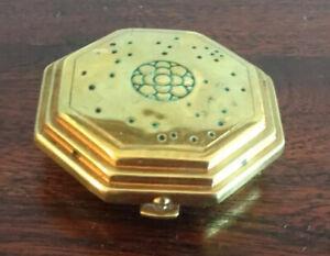 Beautiful Vintage Brass Hexagonal Pill Box