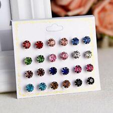 Colorful 12Pair Earrings Rhinestone Crystal Ear Stud Earring Set Women Jewellery