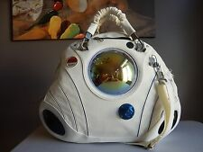 MCM WHITE LEATHER AND CANVAS SPACE CONCEPT RUNWAY LIMITED EDITION BAG LARGE RARE