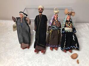 "7"" Vintage Israeli Compo & Wood Israel Dolls Men & Women Lot Of 4 1960's Painted"