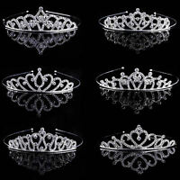 Wedding Bridal Tiara Rhinestone Crystal Crown Pageant Prom Veil Comb Headband