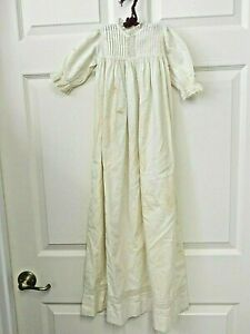 """Antique White Cotton Christening Gown For Infant or Large Doll , 37"""" Long"""
