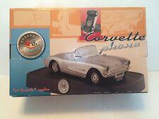 SILVER 1957 REPLICA CHEVROLET CORVETTE DESK TOP PHONE BRAND NEW IN ORIGINAL BOX