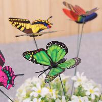 "10pcs Garden Butterfly Plastic Butterflies On A Stick Plant Flower Pot Vase Set"""