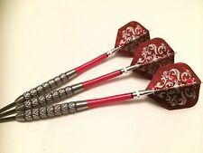 28g BLUE RING Tungsten Darts Set, Red Spinning Stems, Holo Patterned Flights