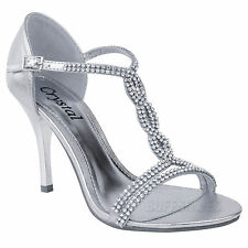 LADIES WOMENS PARTY PROM BRIDAL EVENING DIAMANTE HIGH HEELS SHOES SANDALS SIZE