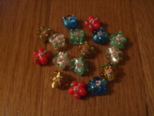 LAMPWORK mixed flower shape glass beads with rose pack of 15 16mm UK seller A19