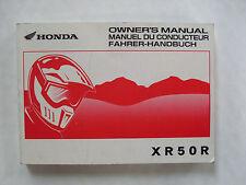 Used Genuine Honda XR50R Owners Manual 00X37-GEL-6000 2001