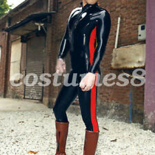 100% Latex Grenouillère Rubber Black with Red Catsuit Men Bodysuit  0.4mm S-XXL