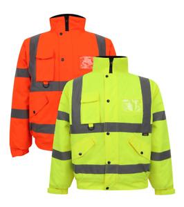 Workwear High Viz Bomber jackets Visibility Waterproof Coat Padded Jacket