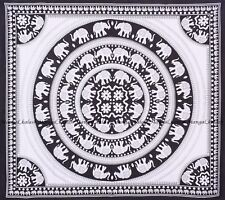 Indian Elephant Mandala Cotton Throw Queen Size Handmade Wall Hanging Tapestry