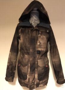 Mens Khaki Brown Volcom Ski Snowboard Jacket Winter Snow Coat Size XS