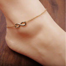 Gold Plated 925 Silver Gift For Her Solid Silver 8Shape Chain Anklet 14K Yellow
