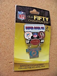 SB Super Bowl 7 VII On the Fifty Champion pin dangle dangling Dolphins Redskins