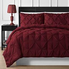 Elegant Durable Stitching 3-piece Pinch Pleated Comforter Set in Burgundy